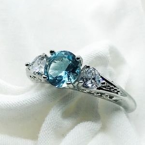 NWOT - Sea Blue CZ 925 plated Cocktail Ring